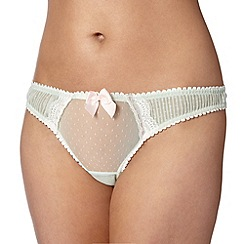 Reger by Janet Reger - Designer pale green mesh pleat thong