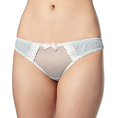 Reger by Janet Reger - Designer pale blue pleated mesh thong