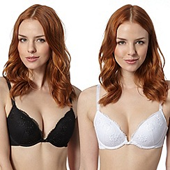 Presence - Pack of two black embroidered plunge bras