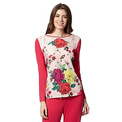 B by Ted Baker - Pink rose bug long sleeved pyjama top