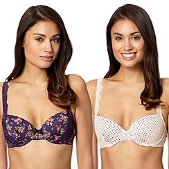 Presence - Pack of two pink spotted and purple floral balcony bras