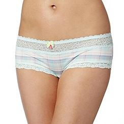 Iris & Edie - Light blue tartan print shorts