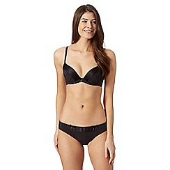 B by Ted Baker - Black pleated satin edge plunge bra
