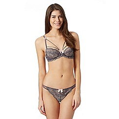 Reger by Janet Reger - Designer 'Valentina' grey lace non padded bra