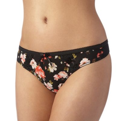 Adore Moi by Ultimo Black floral and lace thong - . -