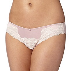 Reger by Janet Reger - Designer light pink lace detail brazilian briefs