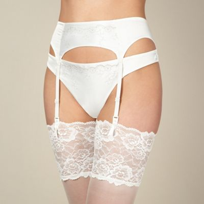 Ivory satin bridal suspender belt