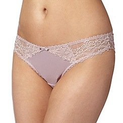 J by Jasper Conran - Designer mauve embroidered mesh back brazilian briefs