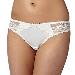 J by Jasper Conran - Designer ivory embroidered mesh back brazilian briefs