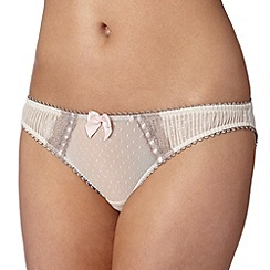 Reger by Janet Reger - Designer beige mesh pleat briefs
