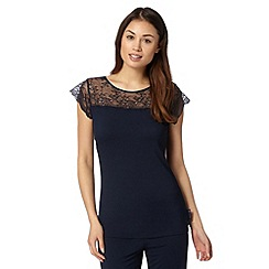 B by Ted Baker - Navy jersey lace short sleeved pyjama top