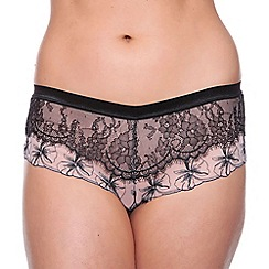 Passionata - Black 'Double Play' embroidered lace shorts