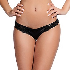 Bluebella - Black 'Desire' lace and satin thong