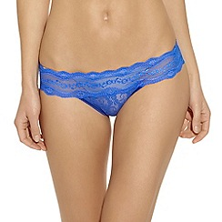 b.tempt'd - Blue 'Kiss' lace bikini briefs