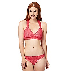Iris & Edie - Red floral lace non wired bra