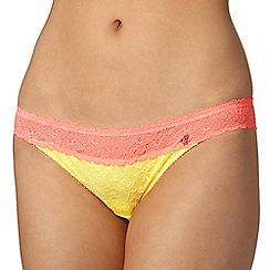 Iris & Edie - Orange two tone lace hipster briefs