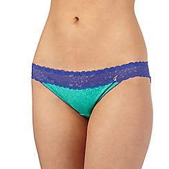 Iris & Edie - Green floral lace hipster briefs