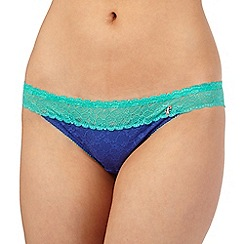 Iris & Edie - Blue floral lace hipster briefs