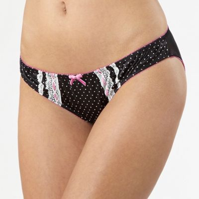 Black polka dot satin hipster briefs