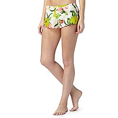B by Ted Baker - Cream 'Flowers at High Tea' scalloped shorts
