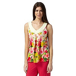 B by Ted Baker - Cream 'Flowers at High Tea' V neck tank top