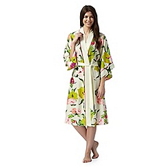 B by Ted Baker - Cream 'Flowers at High Tea' midi kimono wrap