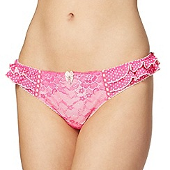 Floozie by Frost French - Bright pink polka dot lace thong