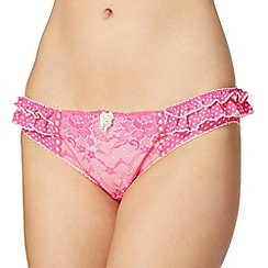 Floozie by Frost French - Bright pink polka dot lace hipster briefs