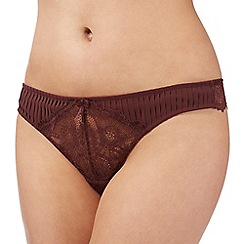 J by Jasper Conran - Designer dark red pleated and lace thong