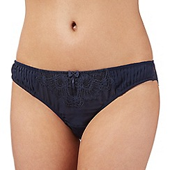 J by Jasper Conran - Designer navy pleated and lace brazilian briefs