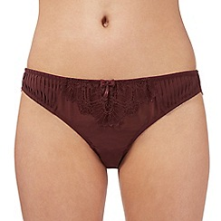 J by Jasper Conran - Designer dark red pleated and lace brazilian briefs
