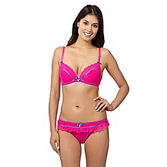 Floozie by Frost French - Dark pink flocked spot and lace plunge bra