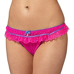Floozie by Frost French - Dark pink flocked spot and lace thong