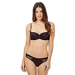 Reger by Janet Reger - Dark brown floral lace balcony bra