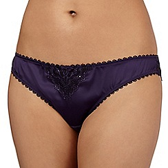 J by Jasper Conran - Purple satin lace detail brazilian briefs