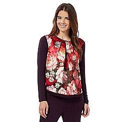 B by Ted Baker - Red rose print long sleeved pyjama top