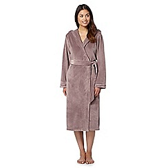 B by Ted Baker - Fawn moleskin long hood dressing gown