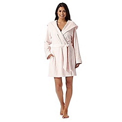 B by Ted Baker - Light pink embossed logo hood dressing gown