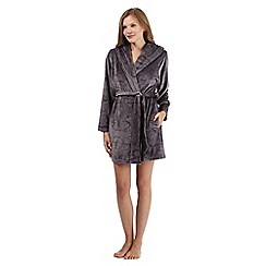 B by Ted Baker - Dark grey debossed bow velour dressing gown