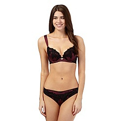 Reger by Janet Reger - Dark red lace trim plunge bra