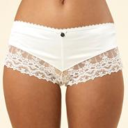 Designer ivory embroidery and diamante shorts