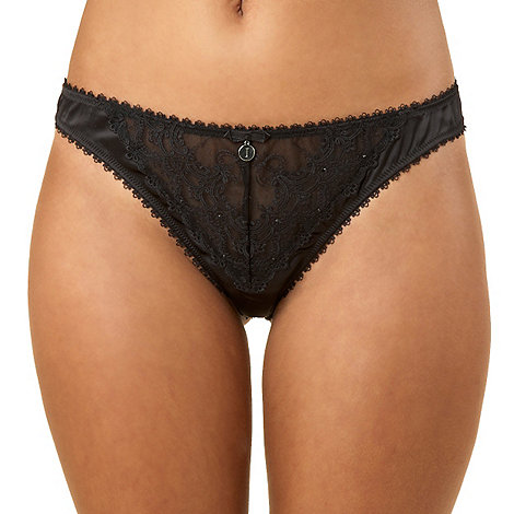 J by Jasper Conran - Black lace and diamante thong