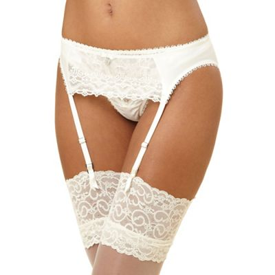 Ivory diamante and embroidered suspender