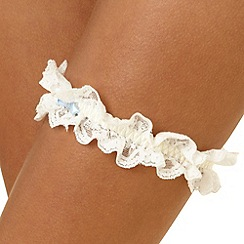 J by Jasper Conran - Ivory scalloped lace trim garter