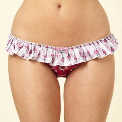 Purple ruffled floral hipster briefs