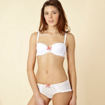 White star patterned mesh bra