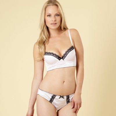 Pale pink spotted longline bra
