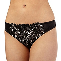 Reger by Janet Reger - Black floral lace thong