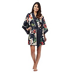 B by Ted Baker - Navy blue opulent bloom print kimono robe