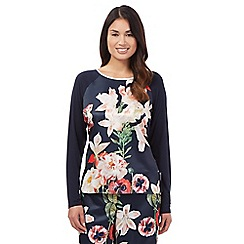 B by Ted Baker - Navy bloom long sleeve pyjama top